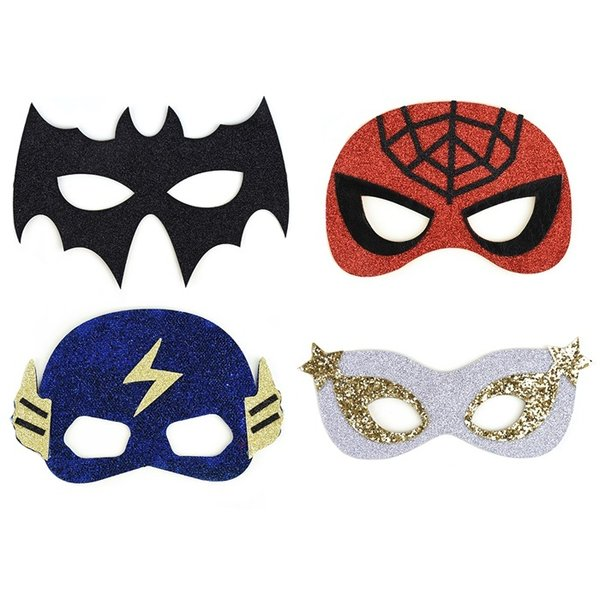Masker superhelter m/ glitter:  spiderman, batman, blue thunder, silverhero